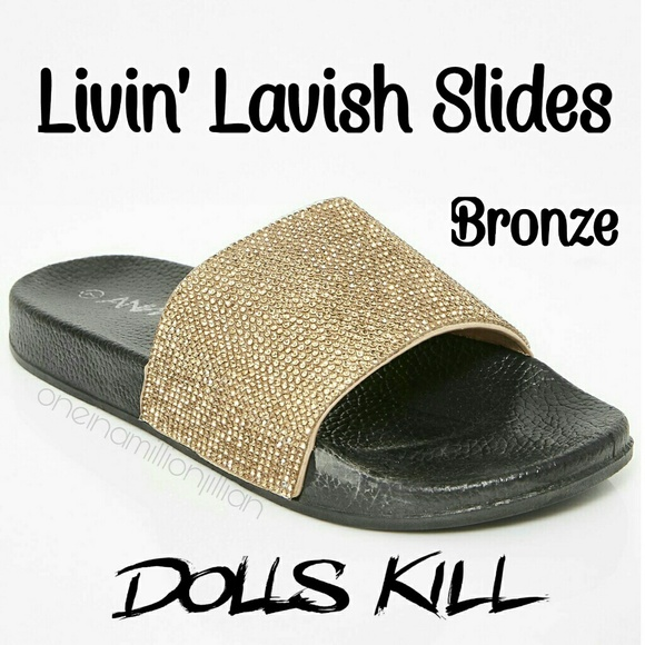 3e3ac643e2ac8 Livin  Lavish Rhinestone Slide Sandals